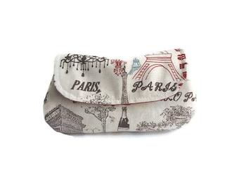 Makeup pouch retro Paris Eiffel Tower, makeup bag, cosmetic pouch, curvy clutch