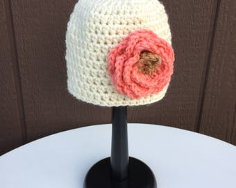Crochet Newborn Baby Girl Hat, Infant Girl Hat with Flower, Newborn Photo Prop, Baby Beanie Hat, Baby Girl Shower Gift, Infant Hospital Hat