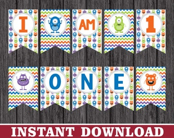 "Monster Birthday High Chair Banner - ""I AM 1"" Little Monster Party Decorations - Printable Digital File - INSTANT DOWNLOAD"