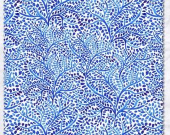 blue and white fabric, shibori fabric, quilting fabric, cotton fabric, leni fabric, floral fabric
