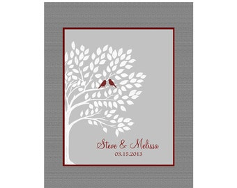 Personalized Wedding Tree Art. Love Birds in a Tree, Established Date, Fully Customizable, Wedding Couple Tree Art Print