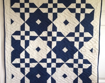 MADE TO ORDER - Boy Cot /Crib Quilt | Blue and Cream Baby Quilt | Handmade Baby Quilt