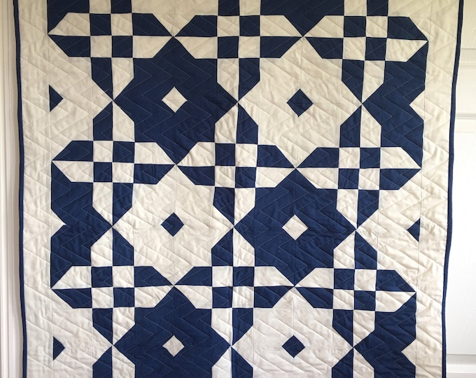 Featured listing image: MADE TO ORDER - Boy Cot /Crib Quilt | Blue and Cream Baby Quilt | Handmade Baby Quilt