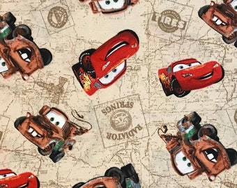By the HALF YARD Disney/Pixar Cars- Tow Mater & Lightning McQueen Radiator Springs - Springs Global Pattern #5849 Cotton Quilt Fabric - OOP