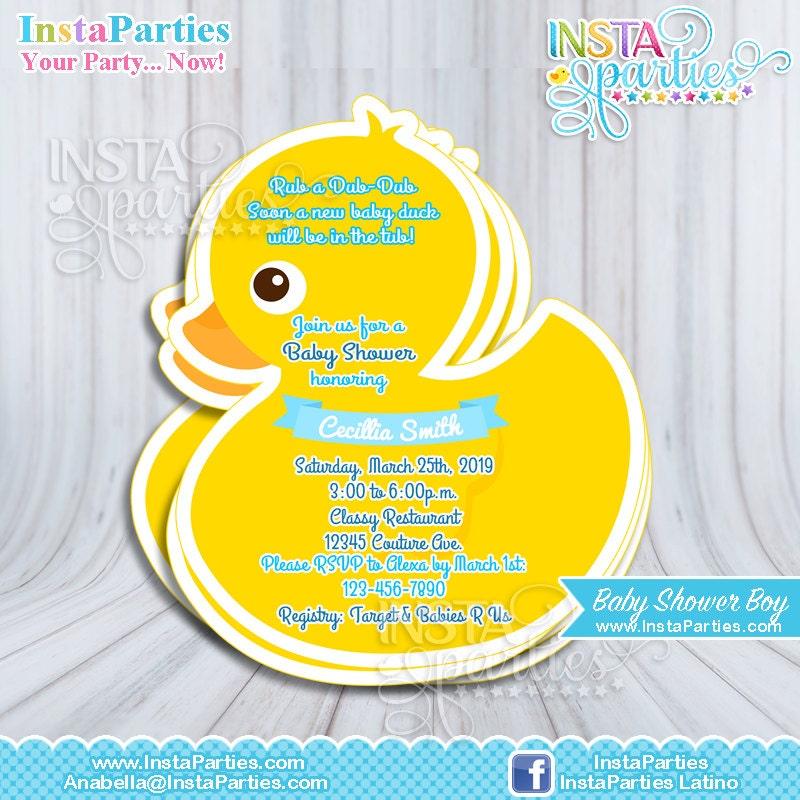 Rubber Duck Invitations Baby Shower boy girl Baby Ducky
