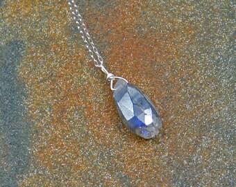 Labradorite Briolette Necklace, Gemstone Necklace, Sterling Silver Chain Necklace, Gemstone Briolette Necklace, Under 30