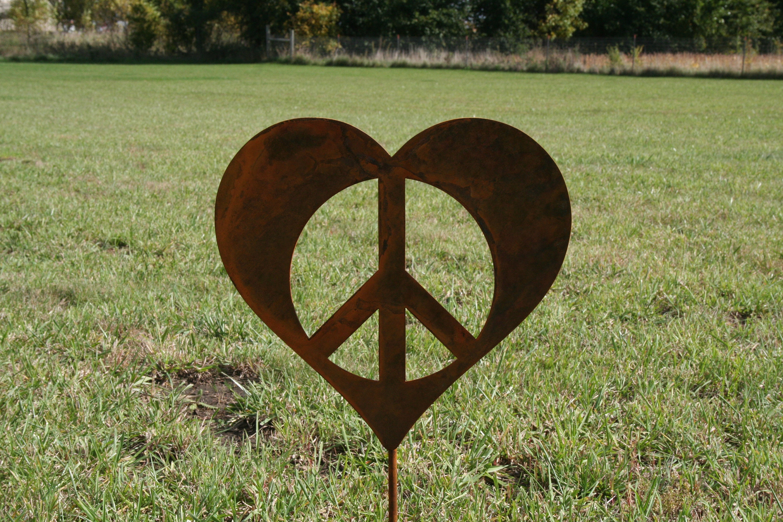 Metal Heart Peace Sign Garden Stake Valentine Heart Heart Yard