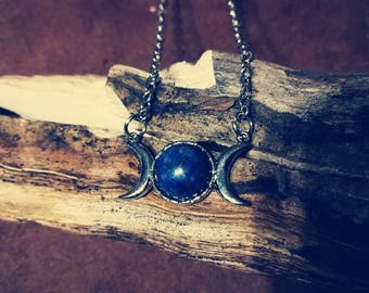 Pendant with lapis lazuli and Triple moon Wicca
