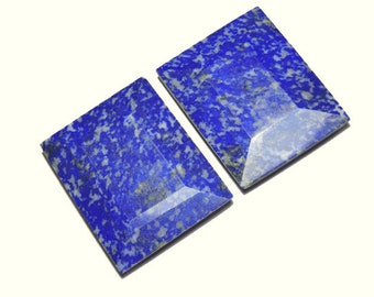 2 Pieces Gorgeous Natural Undyed Lapis Lazuli Cut Stone Faceted Rectangular Shaped Loose Gemstone Size 40X31 MM