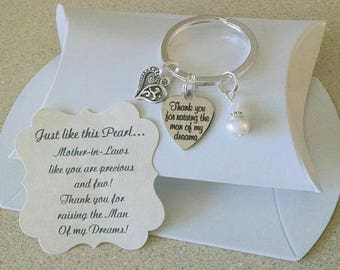 Mother in Law Gift, Mother Of The Groom Gift From Bride, Raising The Man Of My Dreams, Pearl KEYCHAIN, Charm is Size of a Nickel
