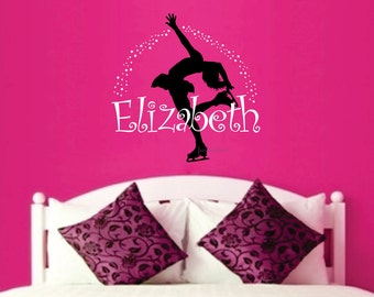 Figure Skater with Name Wall Decal - Ice Skate - Ice Skating - Winter Sport - Skater Decal - Girls name vinyl letters wall decal - Skating