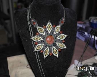 Macrame flower with a beautiful Sunstone and carnelian beads