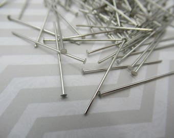 Silver Plated Headpins - 1 inch Head Pins - 20 gauge - Qty 180 pieces *NEW ITEM*