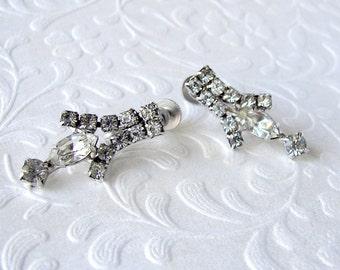 D'VER'S N.Y. Rhinestone Dangle Earrings Petite Princess Drop Screw Back Vintage Costume Jewelry Bridal Wedding Formal Ballroom Pageant Prom