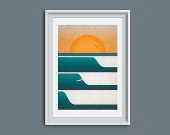 Surf art, wall art, beach theme, surfer, surf, ocean, surf illustration, picture of surfer, sunset, gift for a surfer, surf decor, cornwall