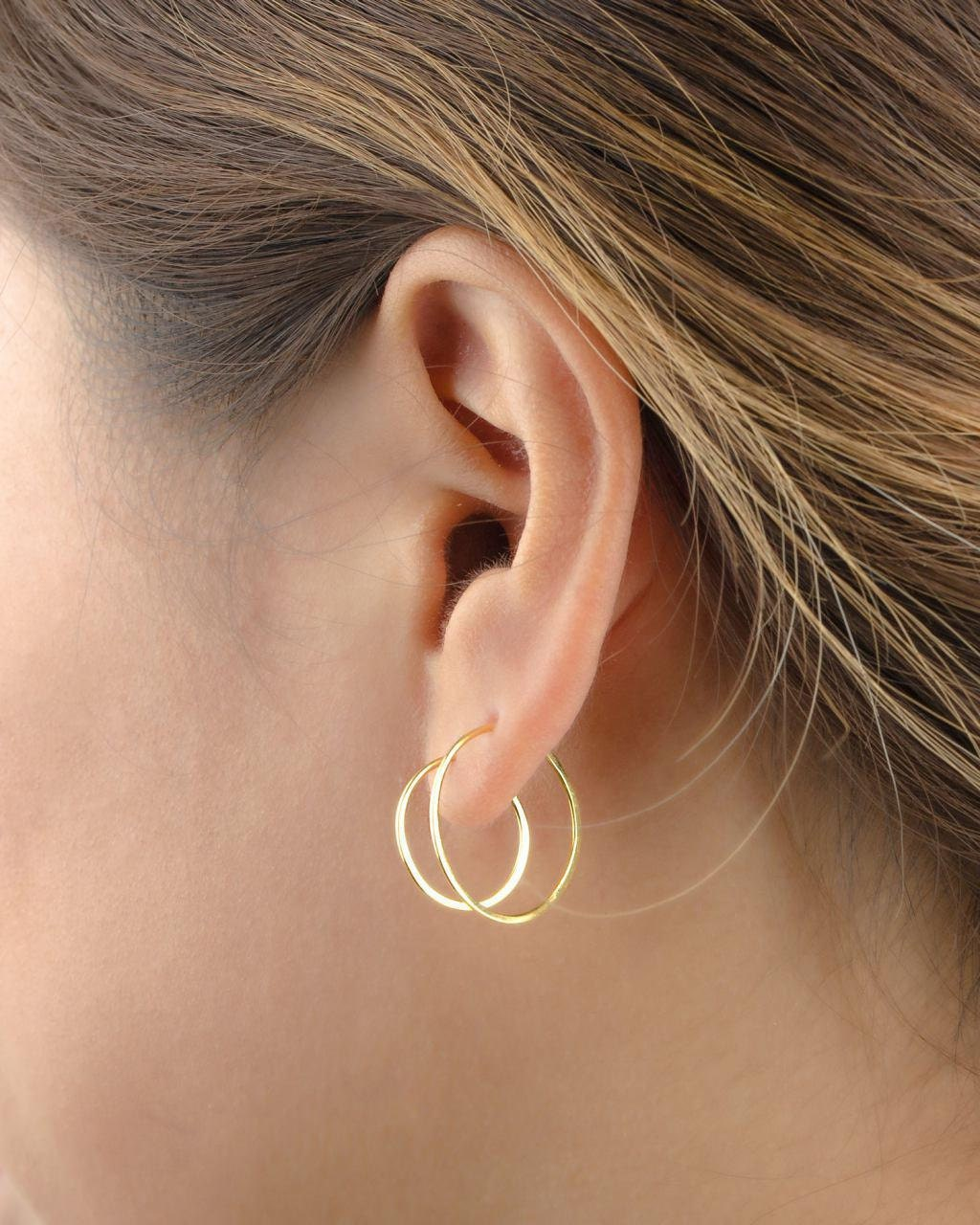 Mittelgroße Creolen Sterling Silber vergoldet Gold