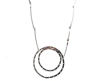 Silver Riveted Concentric Circles Necklace