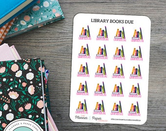 Library Books Due Planner Stickers