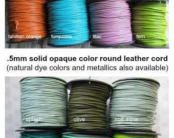 0.5 mm Opaque Leather Four yards or more, .5mm round Leather Cord, Leather cord, Round cord, Small Leather Cord, ClassicBead