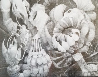 Pencil drawing, psychedelic, biomechanical, surrealistic