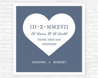 Roman numerals wedding gift, personalized gift print with wedding date, from this day forward