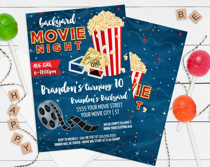 Movie Party Invitation - Backyard Movie Night, Movie Birthday Party Invite, Movie Party | Editable Text - DIY Instant Download PDF Printable