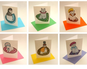 Pack of six greeting cards - Fashion Cats