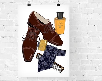 Cary Grant What's in my Bag Portrait Fashion Illustration Art Print