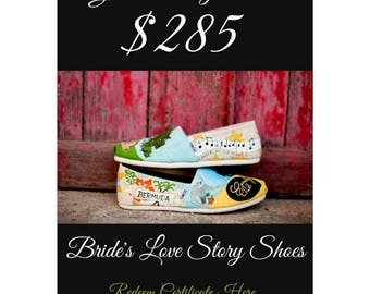 Instant Gift Certificate Wedding Shoes DIGITAL ONLY Gift Card Wedding Gift Bride's Love Story Shoes Hand Painted Shoes Wedding TOMS