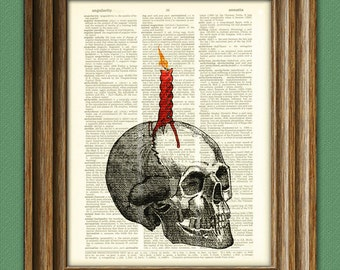 Human skull with dripping candle beautifully upcycled dictionary page book art print