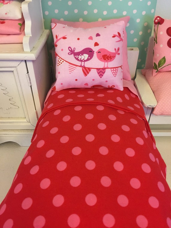 """11"""" Fashion Doll Pink and Red Bedding and Comfort Mattress Set"""