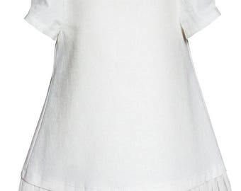 Color white sleeveless ruffle dress is cotton - Eloise
