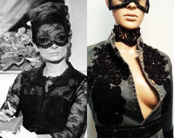 Mask, Audrey Hepburn hat and mask, French Lace Mask, HandMade mask, Pizzo chantilly masks, Millinery, Celebrities masks By MissMDo on Etsy