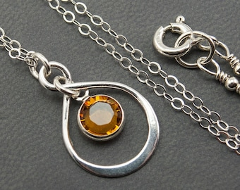 November Birthstone Necklace, Topaz Necklace, November Birthstone Jewelry, Infinity Necklace, Sister Mom To Be New Mom Mother's Day Gift