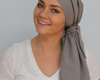 Jessica Pre-Tied Head Scarf - Women's Cancer Scarf, Chemo Hat, Alopecia Head Wrap, Head Cover, Hair Loss, Cancer Gift, Gray