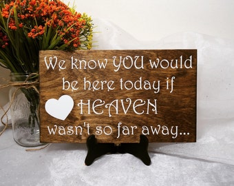 We Know You Would Be Here If Heaven Wasn't So Far Away Sign, Wedding Signs, Heaven Sign, Wedding Sign, Rememberance Sign, Ceremony Sign