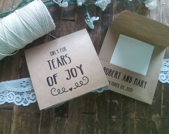 20 Tears of Joy Tissue Packs, Wedding Tissues, for tears of joy, happy Tears Packs, Rustic Design,Customized tissue packs