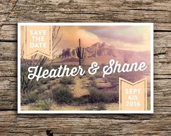 Desert Sunset Postcard Save the Date // Vintage Cactus Arizona New Mexico Saguaro Tucson Postcards Wedding Invitation Desert Wedding Cards
