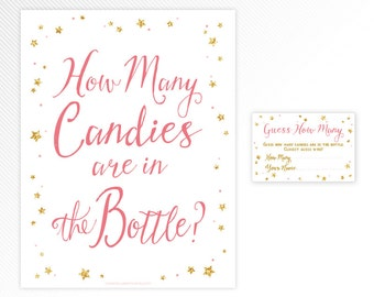 Pink and glitter Twinkle, twinkle, little star Guess how many candies ticket and sign - baby shower game printable - INSTANT DOWNLOAD