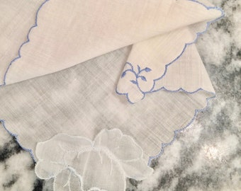 White hanky, blue embroidery, appliqued rose, bride, Something Blue, vintage