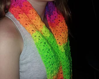 Lovely Bright Fall Colors Coat Scarf Rainbow Multicolor Crochet Neck Warmer Great Gift Idea Handmade Can be Customized