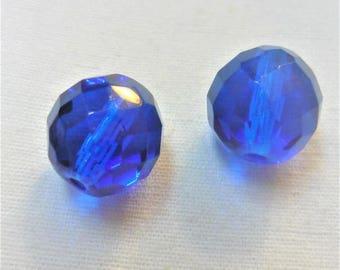 2 Royal Blue 15mm glass beads