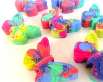 12 Butterfly Shaped Crayons, Butterfly Birthday, Butterfly Favor, Mariposa Birthday, Garden Birthday, Recycled Crayon, Easter Basket Filler