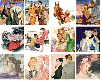 Romantic Sweetheart Couples 20 2 inch squares Digital Collage Sheet Digital Download D110
