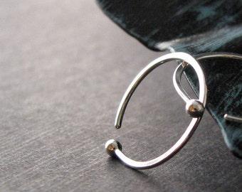 Sleeper Hoop Earrings, Fine Silver 18g, Hammered Earrings, 14mm ID, Open Hoops, Artisan Jewelry