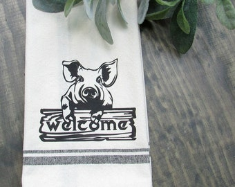 Pig Print Kitchen Dish Cloth, Dish Towel, Hand Towel, Hostess Gift, Housewarming Gift, Flour Sack Towel, Kitchen Decor, Unique Gift Idea