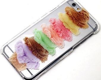 Cute Ice Cream Cone Food, iPhone Case, Transparent Phone Case, iPhone 6, iPhone 7, iPhone 6 plus, iPhone 7 plus, iPhone Se, iPhone 5, Galaxy