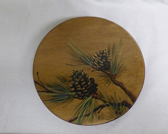 "Small Lazy Susan   9"" Turntable  Wood Lazy Susan Pine Cone Design"