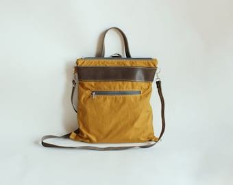 Waxed canvas backpack, convertible backpack in canvas with leather strap, backpack, canvas and leather bag, canvas crossbody bag laptop