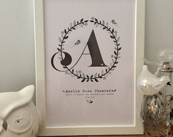 A4 personalised letter/initial print for baby girl gift